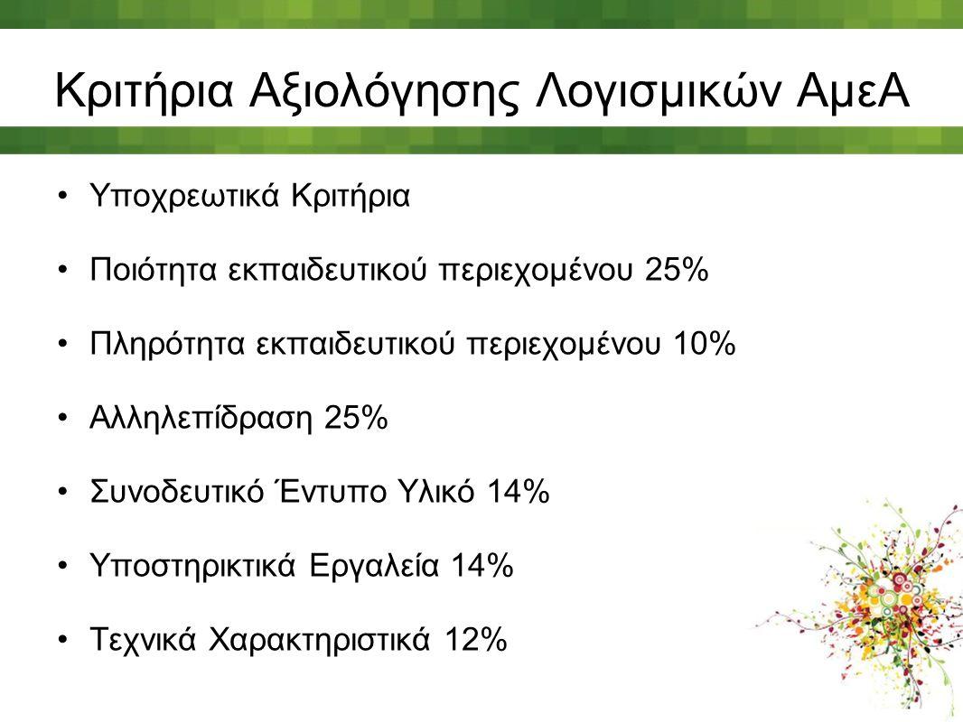 Κριτήρια Αξιολόγησης Λογισμικών ΑμεΑ