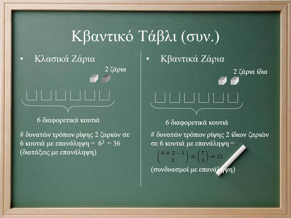 Κβαντικό Τάβλι (συν.) Κλασικά Ζάρια Κβαντικά Ζάρια 2 ζάρια