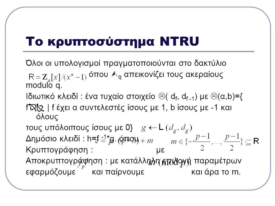 Το κρυπτοσύστημα NTRU Όλοι οι υπολογισμοί πραγματοποιούνται στο δακτύλιο. όπου q απεικονίζει τους ακεραίους.