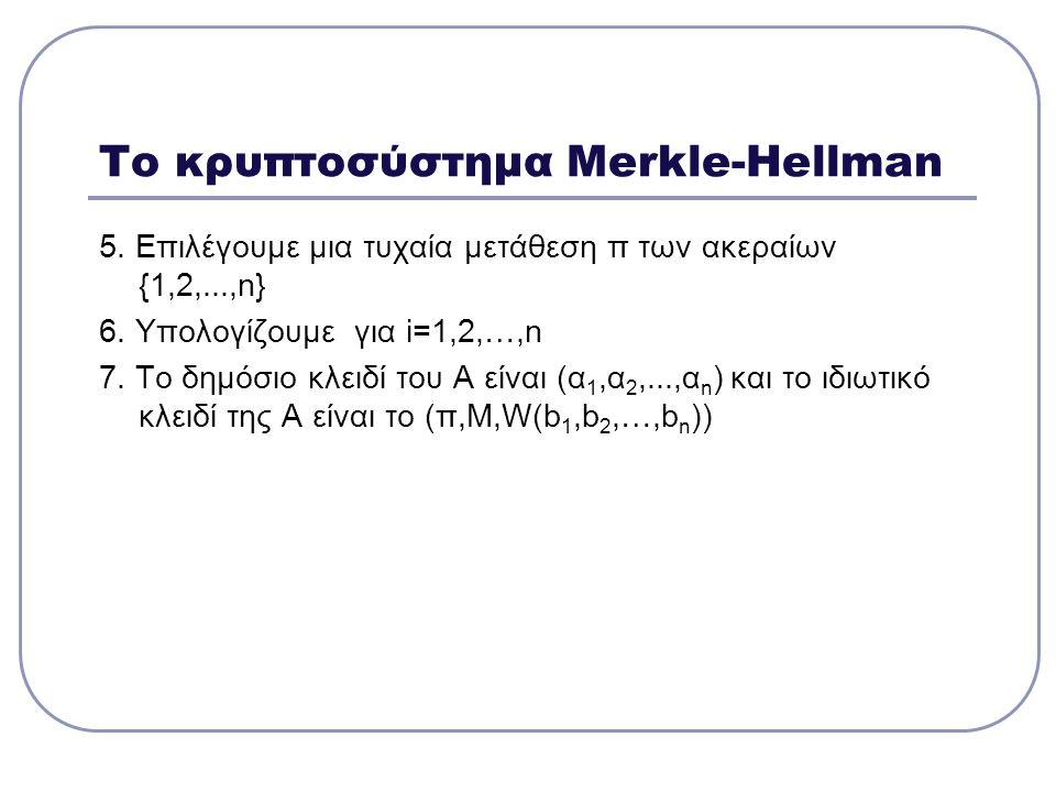 Το κρυπτοσύστημα Merkle-Hellman
