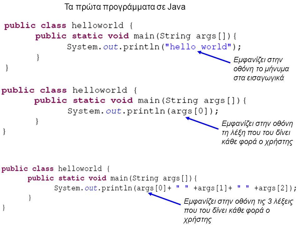 Τα πρώτα προγράμματα σε Java