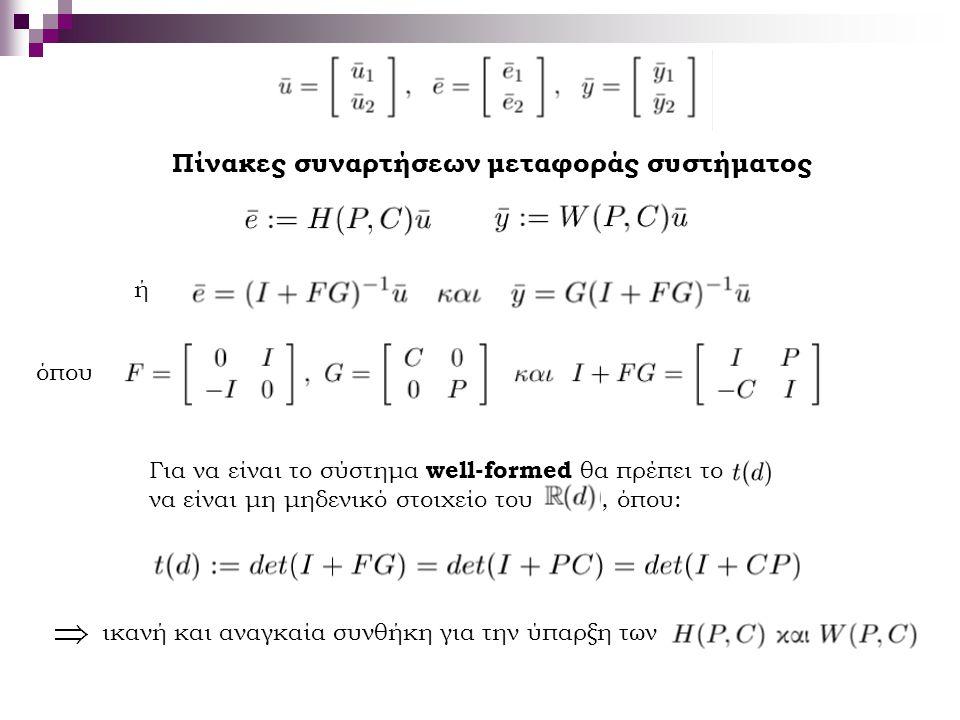 Πίνακες συναρτήσεων μεταφοράς συστήματος