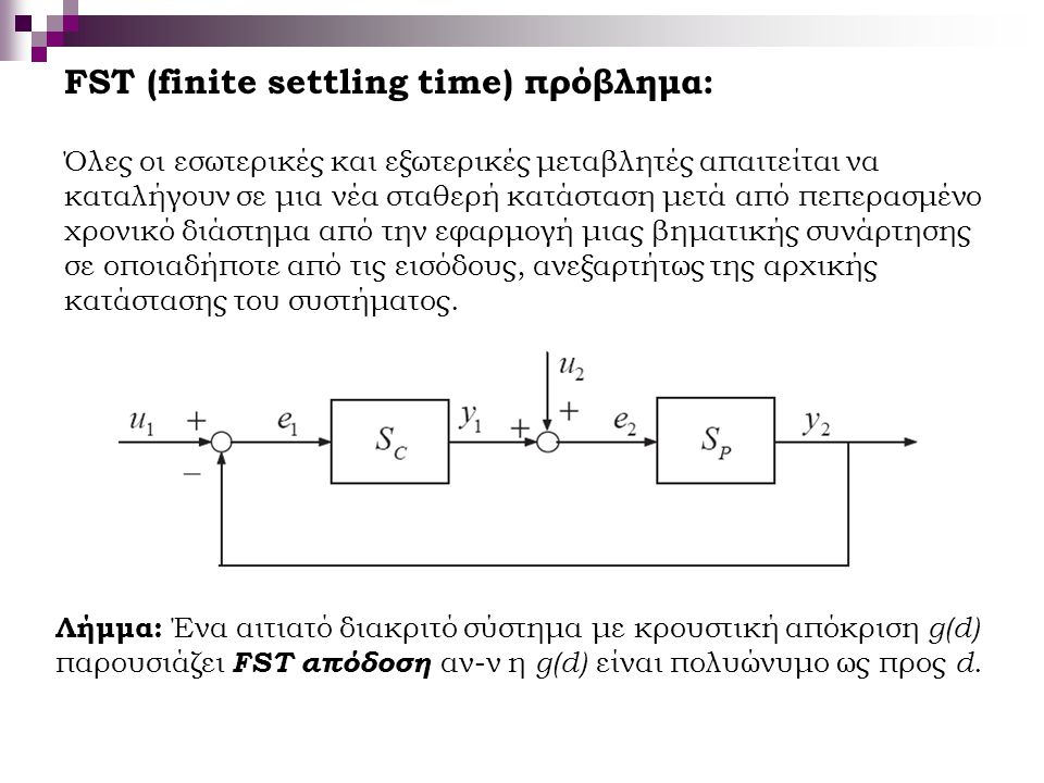 FST (finite settling time) πρόβλημα: