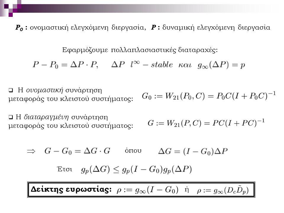 P0 : ονομαστική ελεγχόμενη διεργασία, P : δυναμική ελεγχόμενη διεργασία