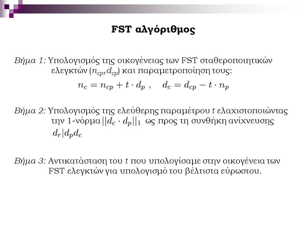 FST αλγόριθμος Βήμα 1: Υπολογισμός της οικογένειας των FST σταθεροποιητικών. ελεγκτών (ncp,dcp) και παραμετροποίηση τους: