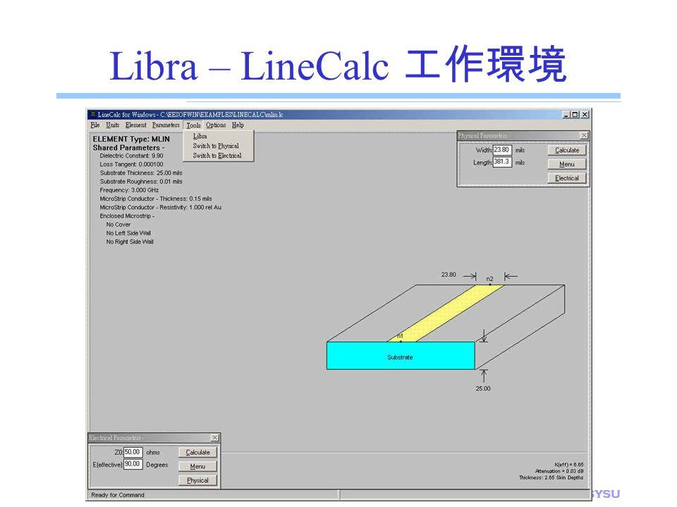 Libra – LineCalc 工作環境 E.E. Dept., NSYSU