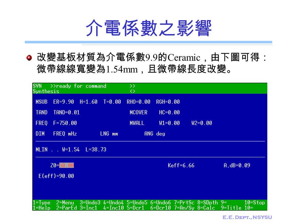 介電係數之影響 改變基板材質為介電係數9.9的Ceramic,由下圖可得:微帶線線寬變為1.54mm,且微帶線長度改變。