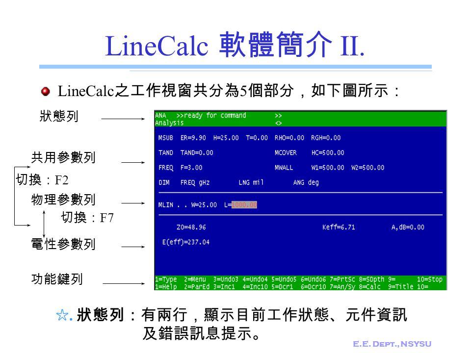 LineCalc 軟體簡介 II. LineCalc之工作視窗共分為5個部分,如下圖所示: ☆. 狀態列:有兩行,顯示目前工作狀態、元件資訊