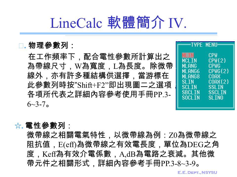 LineCalc 軟體簡介 IV. ☆. 物理參數列:
