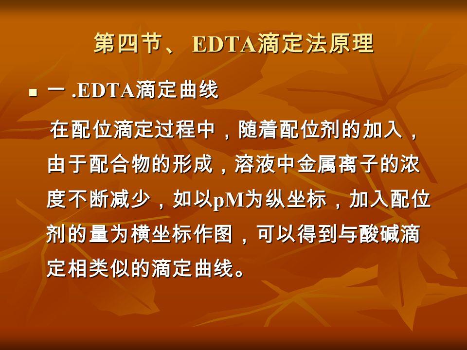 第四节、 EDTA滴定法原理 一 .EDTA滴定曲线