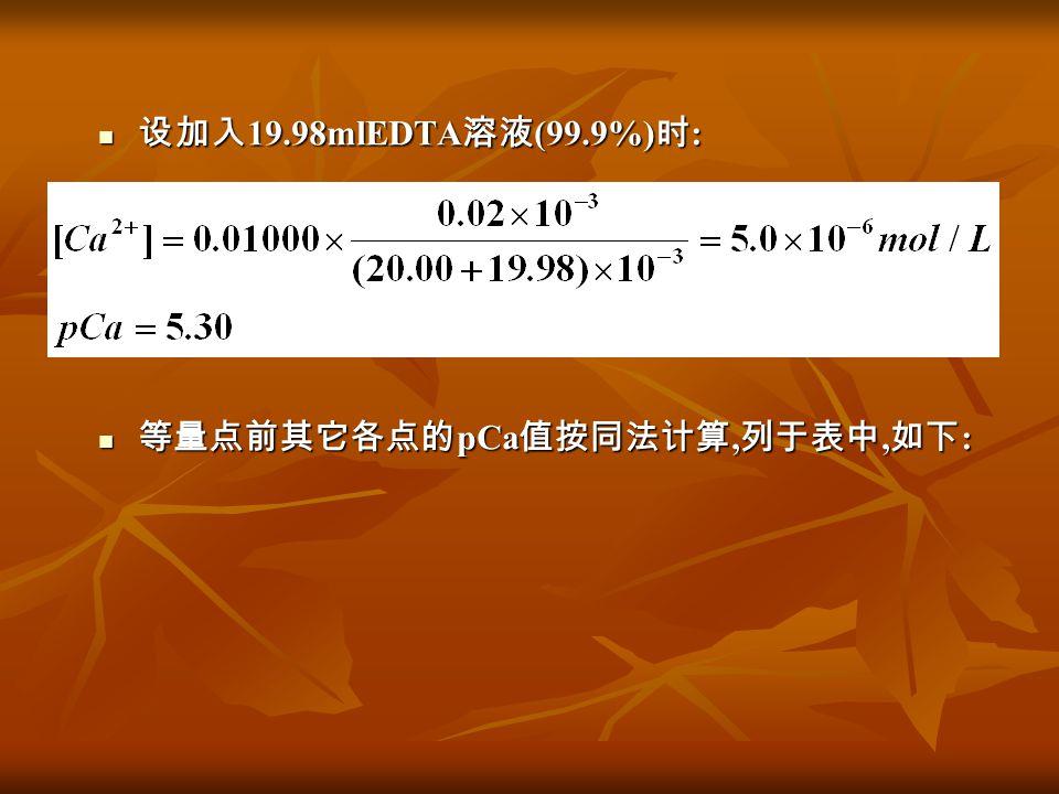设加入19.98mlEDTA溶液(99.9%)时: 等量点前其它各点的pCa值按同法计算,列于表中,如下:
