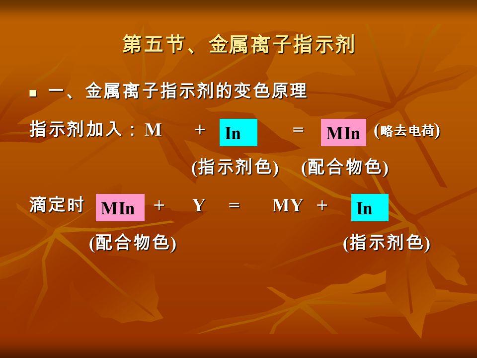第五节、金属离子指示剂 一、金属离子指示剂的变色原理 指示剂加入: M + = (略去电荷) (指示剂色) (配合物色)