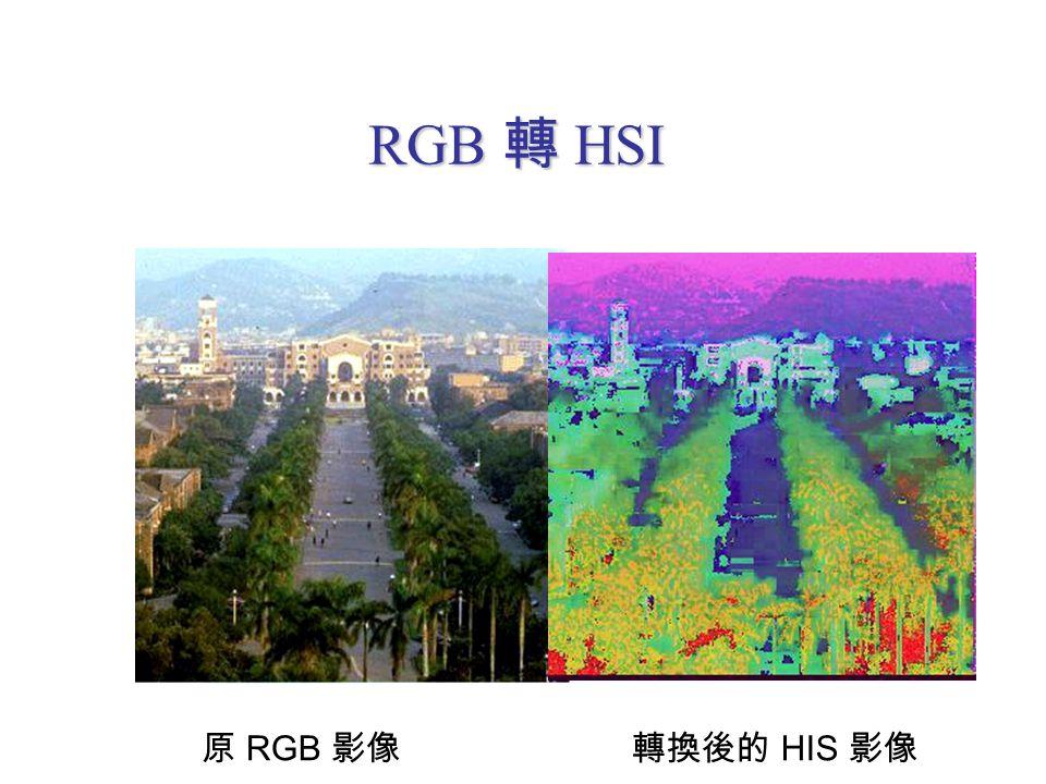 RGB 轉 HSI 原 RGB 影像 轉換後的 HIS 影像