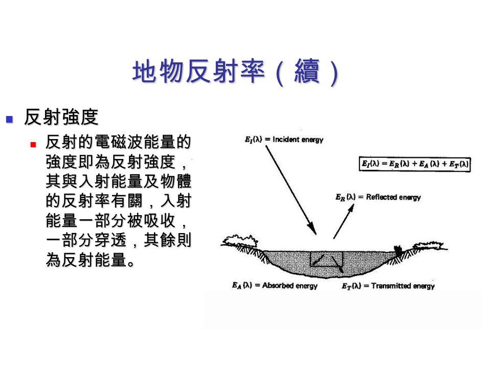 地物反射率(續) 反射強度 反射的電磁波能量的強度即為反射強度,其與入射能量及物體的反射率有關,入射能量一部分被吸收,一部分穿透,其餘則為反射能量。