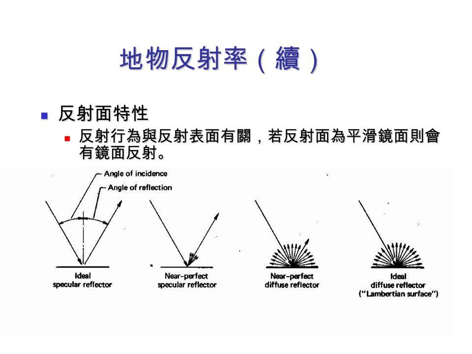 地物反射率(續) 反射面特性 反射行為與反射表面有關,若反射面為平滑鏡面則會有鏡面反射。