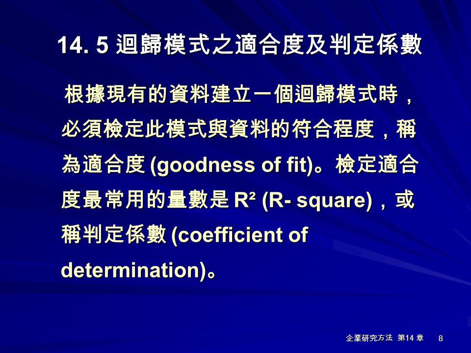 14. 5 迴歸模式之適合度及判定係數 根據現有的資料建立一個迴歸模式時,必須檢定此模式與資料的符合程度,稱為適合度 (goodness of fit)。檢定適合度最常用的量數是 R² (R- square),或稱判定係數 (coefficient of determination)。