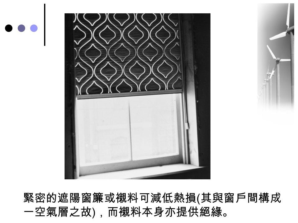 緊密的遮陽窗簾或襯料可減低熱損(其與窗戶間構成一空氣層之故),而襯料本身亦提供絕緣。