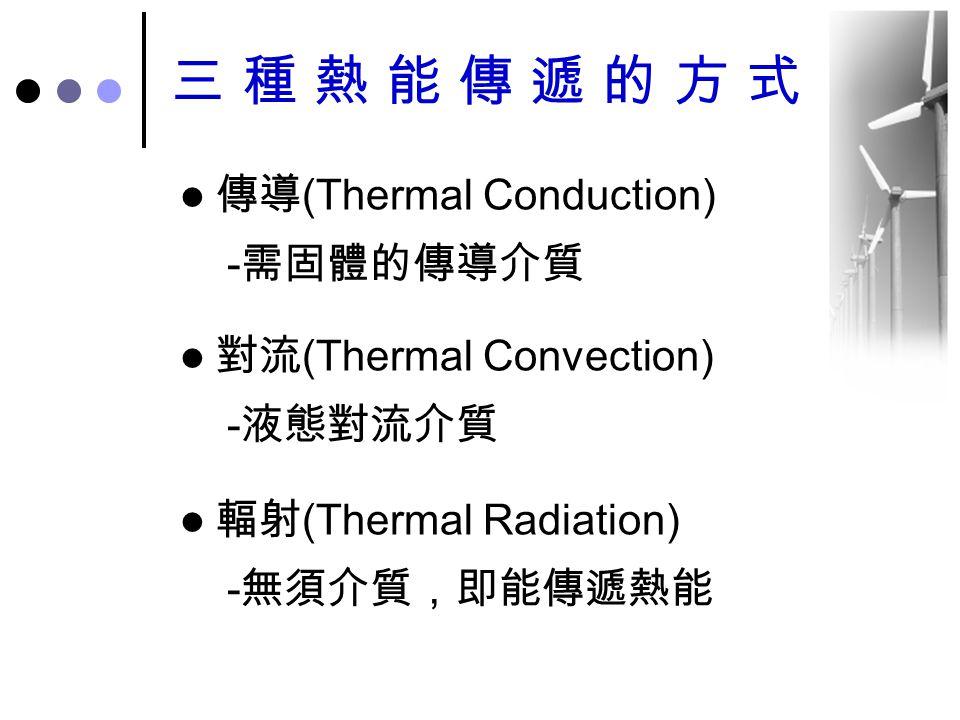 三種熱能傳遞的方式 傳導(Thermal Conduction) -需固體的傳導介質 對流(Thermal Convection)