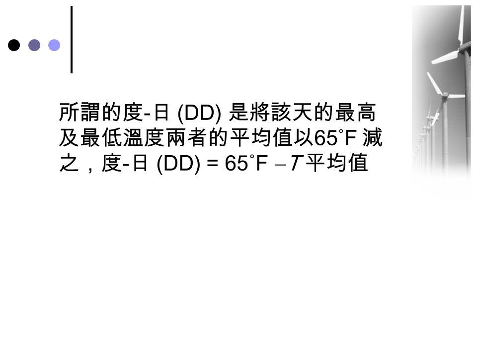 所謂的度-日 (DD) 是將該天的最高及最低溫度兩者的平均值以65˚F 減之,度-日 (DD) = 65˚F T 平均值
