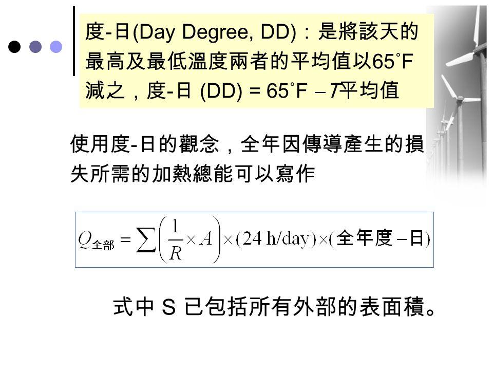 度-日(Day Degree, DD):是將該天的最高及最低溫度兩者的平均值以65˚F減之,度-日 (DD) = 65˚F T平均值