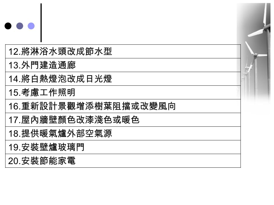 12.將淋浴水頭改成節水型 13.外門建造通廊. 14.將白熱燈泡改成日光燈. 15.考慮工作照明. 16.重新設計景觀增添樹葉阻擋或改變風向. 17.屋內牆壁顏色改漆淺色或暖色. 18.提供暖氣爐外部空氣源.