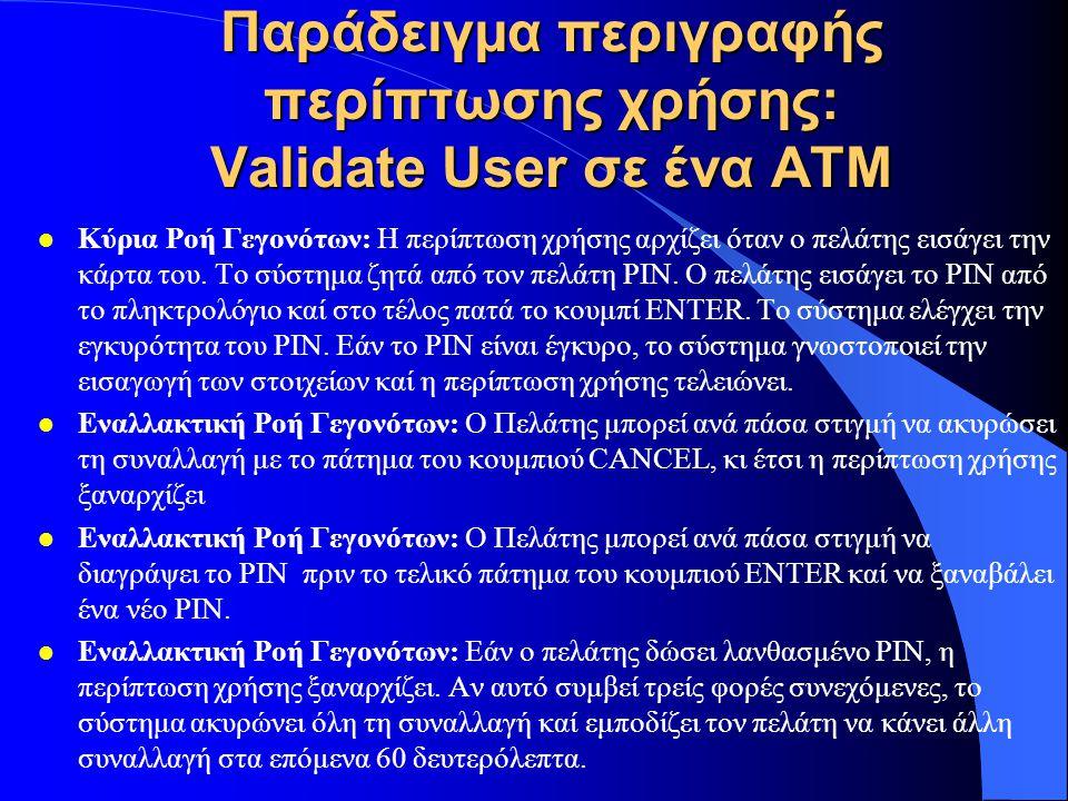 Παράδειγμα περιγραφής περίπτωσης χρήσης: Validate User σε ένα ΑΤΜ