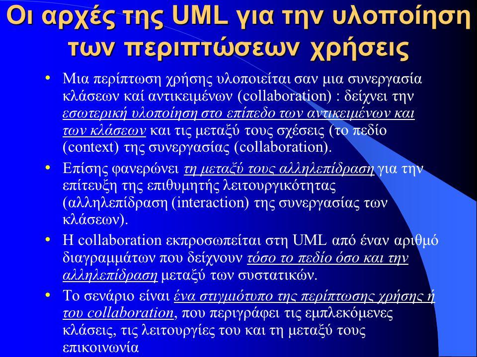 Οι αρχές της UML για την υλοποίηση των περιπτώσεων χρήσεις