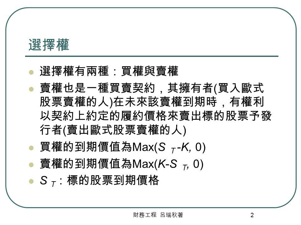 選擇權 選擇權有兩種:買權與賣權. 賣權也是一種買賣契約,其擁有者(買入歐式股票賣權的人)在未來該賣權到期時,有權利以契約上約定的履約價格來賣出標的股票予發行者(賣出歐式股票賣權的人) 買權的到期價值為Max(S T -K, 0)