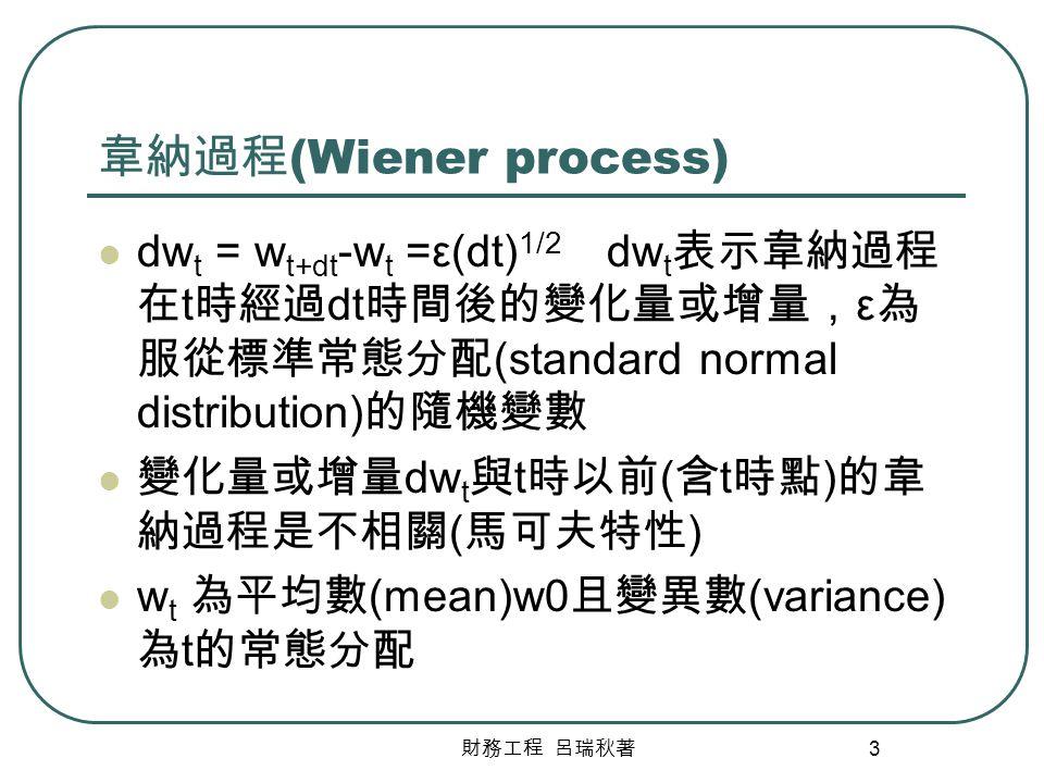 韋納過程(Wiener process) dwt = wt+dt-wt =ε(dt)1/2 dwt表示韋納過程在t時經過dt時間後的變化量或增量,ε為服從標準常態分配(standard normal distribution)的隨機變數.