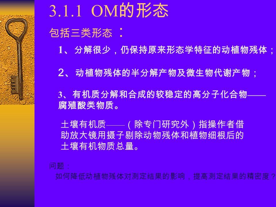 3.1.1 OM的形态 包括三类形态: 1、分解很少,仍保持原来形态学特征的动植物残体; 2、动植物残体的半分解产物及微生物代谢产物;