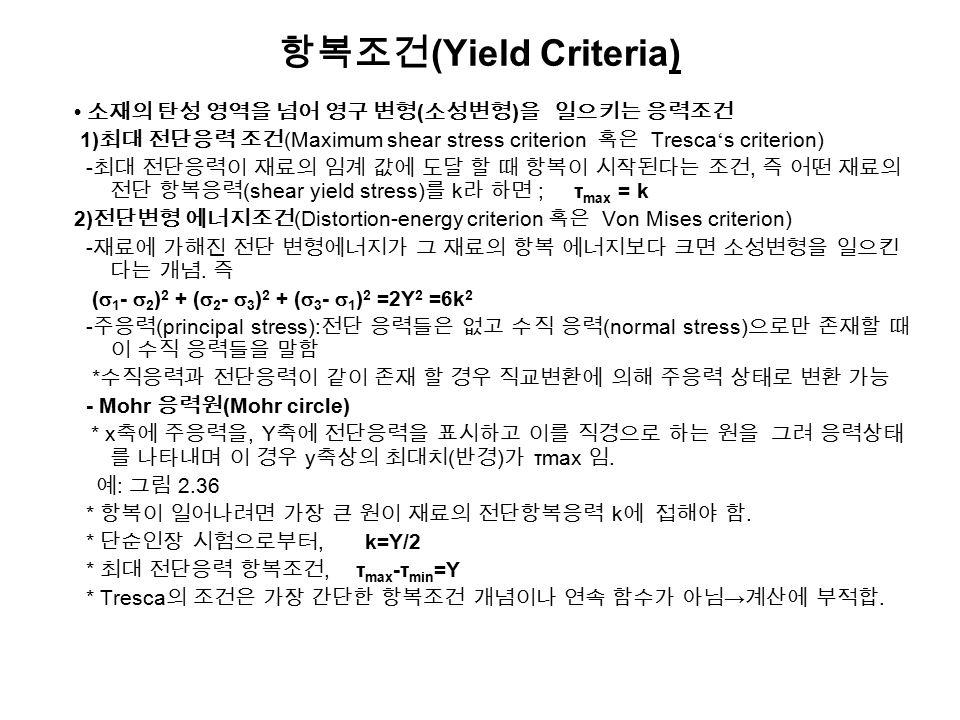 항복조건(Yield Criteria) • 소재의 탄성 영역을 넘어 영구 변형(소성변형)을 일으키는 응력조건
