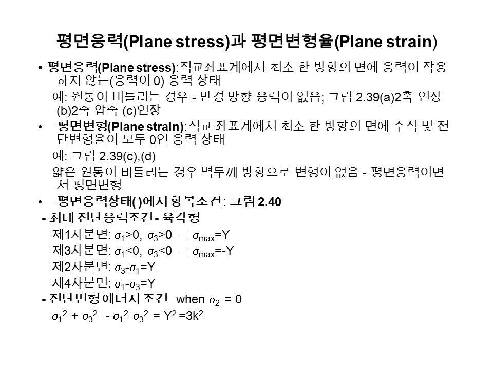 평면응력(Plane stress)과 평면변형율(Plane strain)
