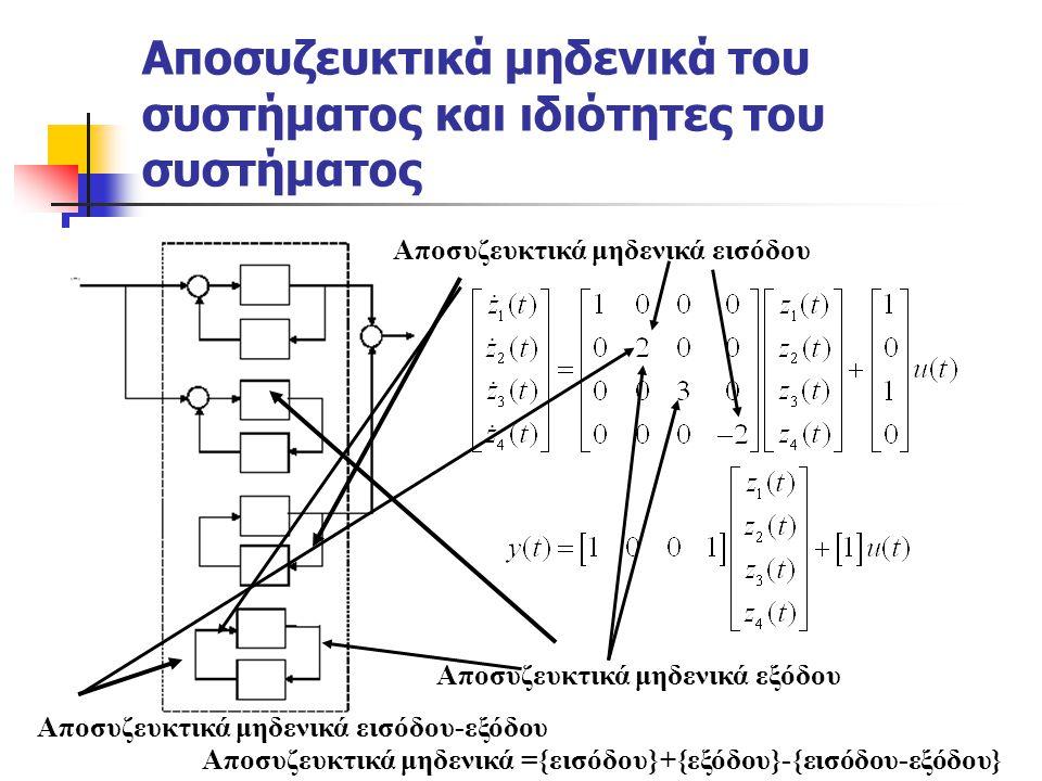 Αποσυζευκτικά μηδενικά του συστήματος και ιδιότητες του συστήματος