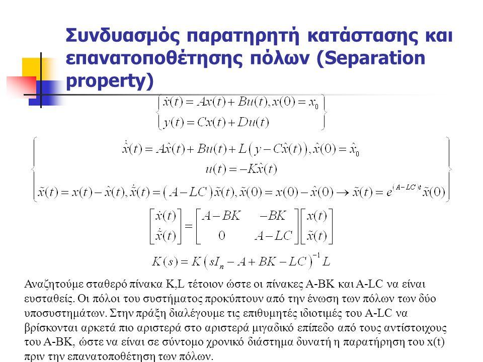 Συνδυασμός παρατηρητή κατάστασης και επανατοποθέτησης πόλων (Separation property)