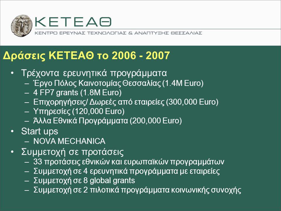 Δράσεις ΚΕΤΕΑΘ το 2006 - 2007 Τρέχοντα ερευνητικά προγράμματα