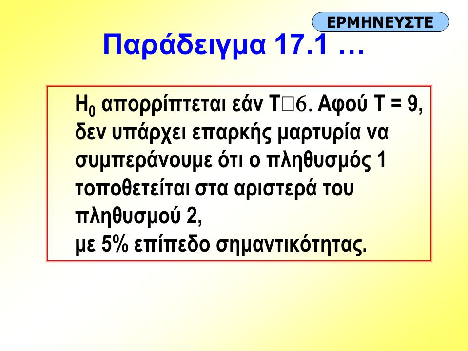 Παράδειγμα 17.1 … ΕΡΜΗΝΕΥΣΤΕ.