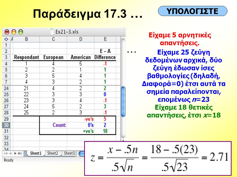 Είχαμε 5 αρνητικές απαντήσεις. Είχαμε 18 θετικές απαντήσεις, έτσι x=18