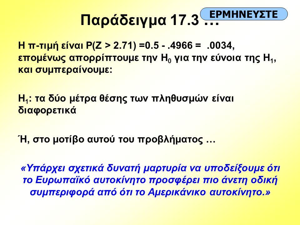 Παράδειγμα 17.3 … ΕΡΜΗΝΕΥΣΤΕ