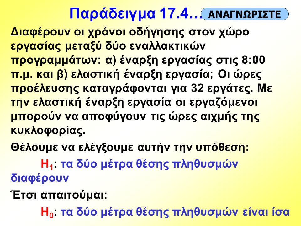 Παράδειγμα 17.4… ΑΝΑΓΝΩΡΙΣΤΕ.