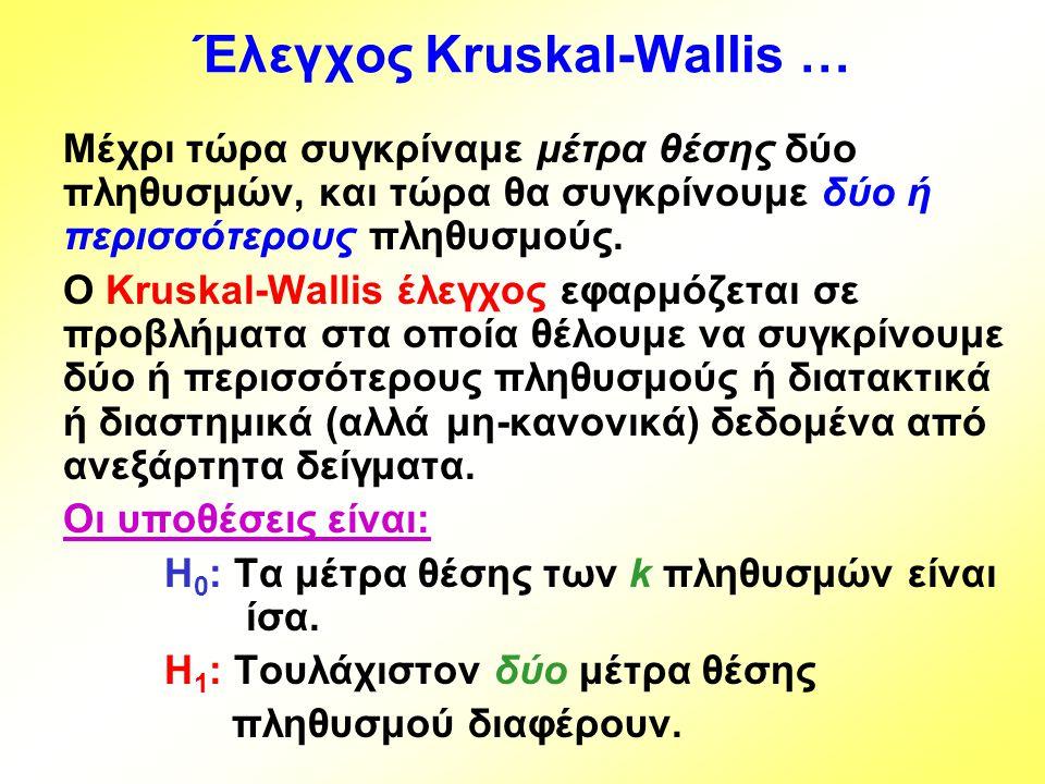 Έλεγχος Kruskal-Wallis …
