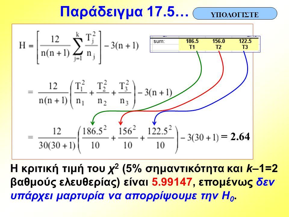 Παράδειγμα 17.5… ΥΠΟΛΟΓΙΣΤΕ. = 2.64.