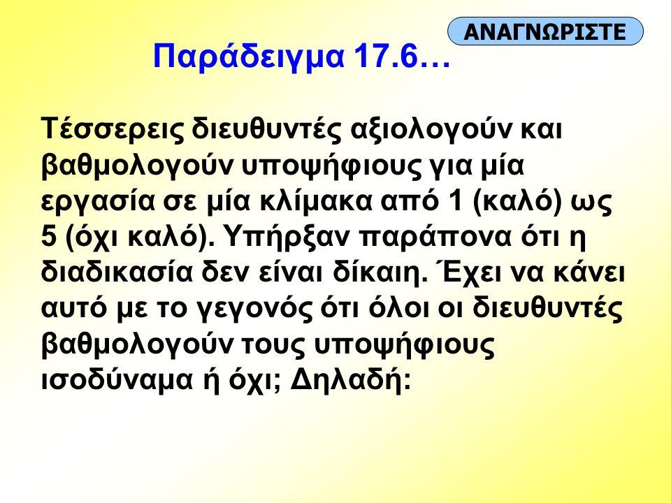 Παράδειγμα 17.6… ΑΝΑΓΝΩΡΙΣΤΕ.