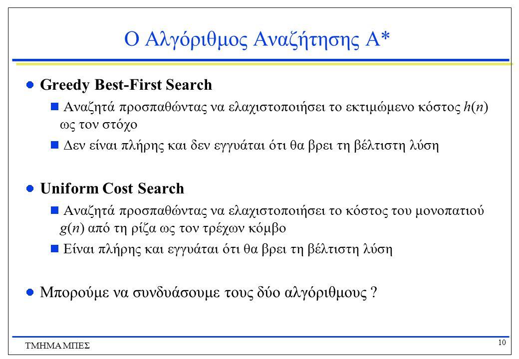 Ο Αλγόριθμος Αναζήτησης Α*