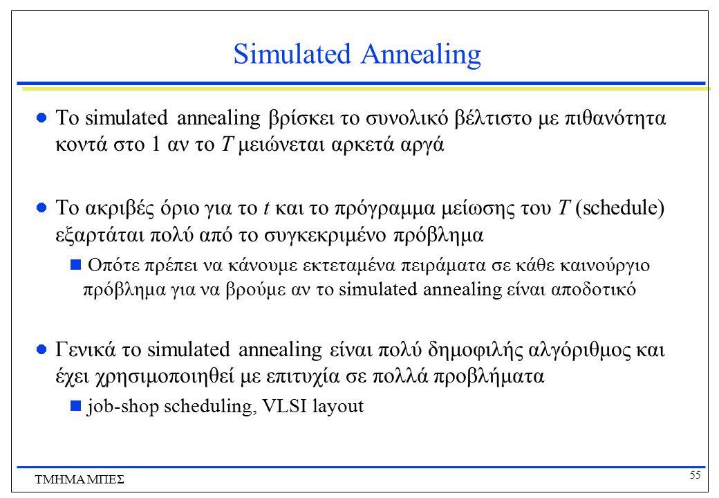 Simulated Annealing Το simulated annealing βρίσκει το συνολικό βέλτιστο με πιθανότητα κοντά στο 1 αν το Τ μειώνεται αρκετά αργά.