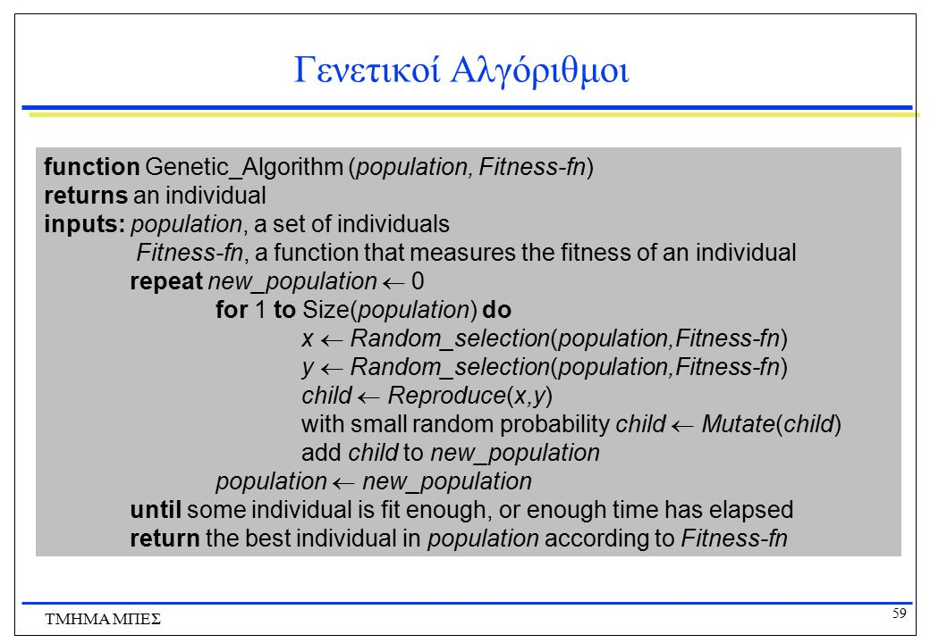 Γενετικοί Αλγόριθμοι function Genetic_Algorithm (population, Fitness-fn) returns an individual. inputs: population, a set of individuals.