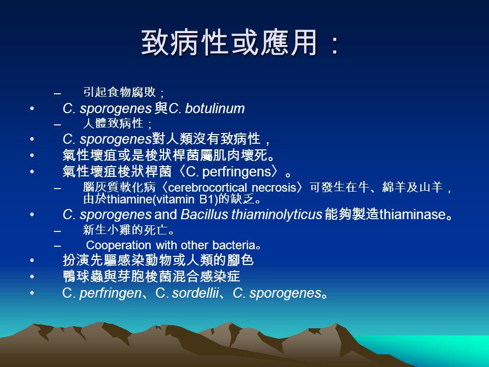 致病性或應用: C. sporogenes 與C. botulinum C. sporogenes對人類沒有致病性,