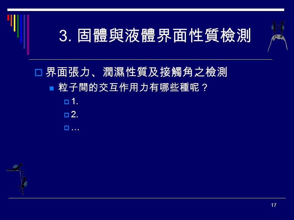 3. 固體與液體界面性質檢測 界面張力、潤濕性質及接觸角之檢測 粒子間的交互作用力有哪些種呢? 1. 2. …