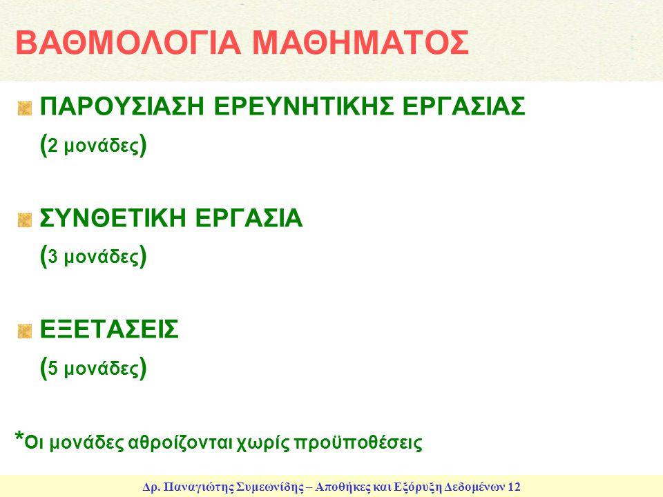 ΒΑΘΜΟΛΟΓΙΑ ΜΑΘΗΜΑΤΟΣ ΠΑΡΟΥΣΙΑΣΗ ΕΡΕΥΝΗΤΙΚΗΣ ΕΡΓΑΣΙΑΣ (2 μονάδες)