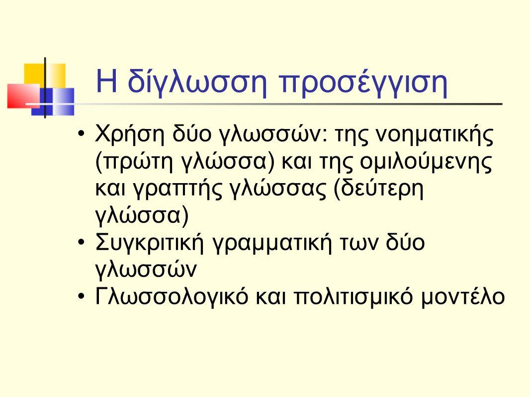 Η δίγλωσση προσέγγιση Χρήση δύο γλωσσών: της νοηματικής (πρώτη γλώσσα) και της ομιλούμενης και γραπτής γλώσσας (δεύτερη γλώσσα)