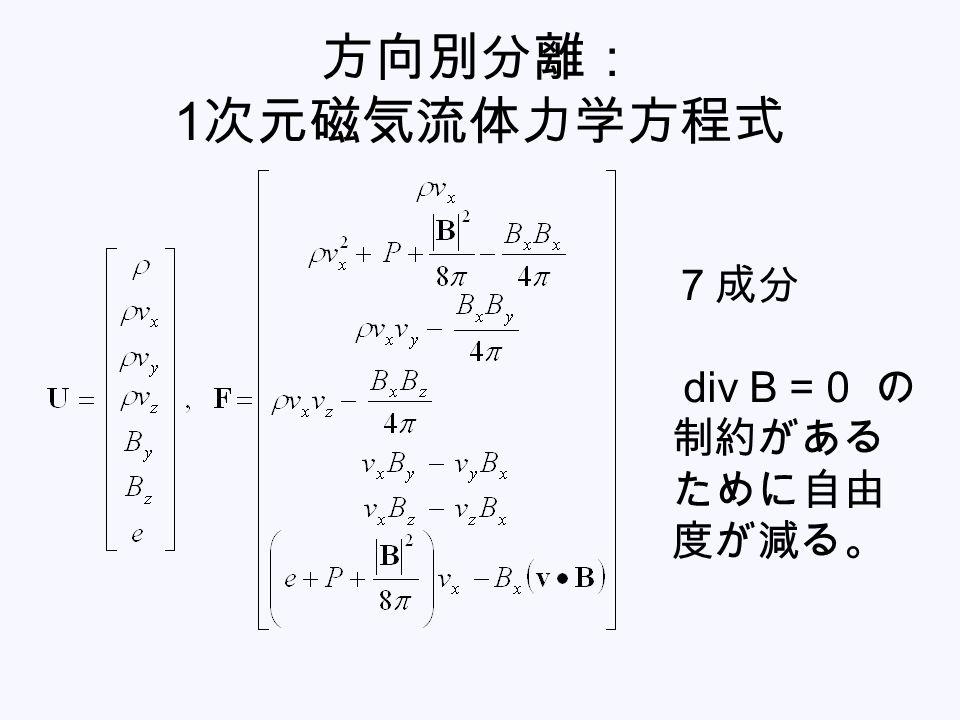 方向別分離: 1次元磁気流体力学方程式 7成分 div B = 0 の制約があるために自由度が減る。